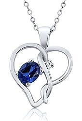 0.51 Ct Blue Simulated Sapphire White Created Sapphire 925 Silver Pendant