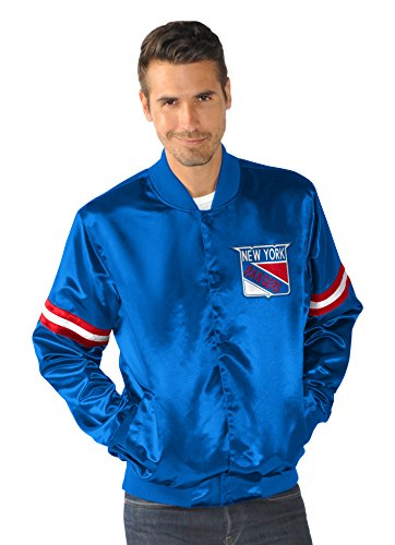NHL New York Rangers Satin Full Snap Retro Jacket, X-Large, Royal (Satin Starter Jacket compare prices)