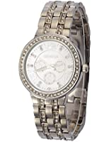 Geneva Full Steel Women Rhinestone Wristwatches - Gold Plated Classic Round CZ Ladies Boyfriend Watches