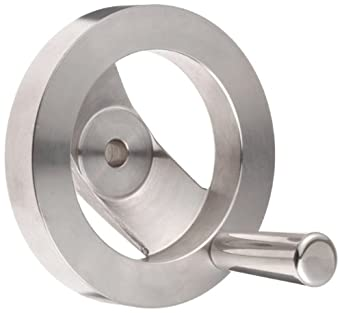 "2 Spoked Stainless Steel 303 Dished Hand Wheel with Revolving Handle, 4"" Diameter, 1-1/4"" Hub Diameter (Pack of 1)"