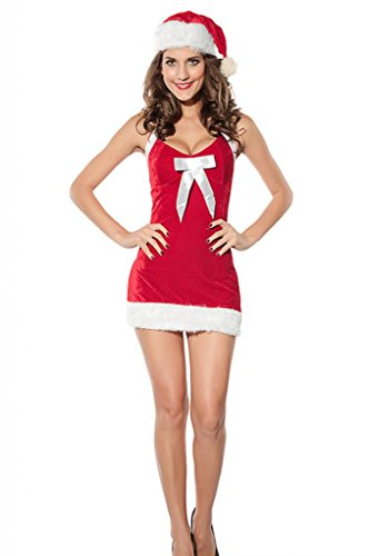 JTC Women Santa Claus Costume Halter Backless Mini One-piece Dress and Cap