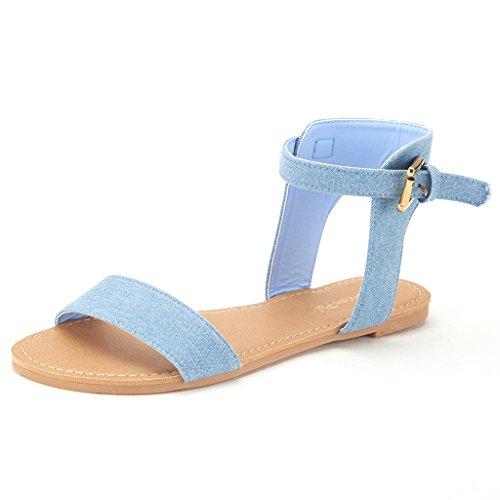 DREAM PAIRS ALEXA Women's High Ankle Cuff One-Band Adjustable Buckle Closure Summer Fashion Flat Sandals BLUE DENIM-SZ-7