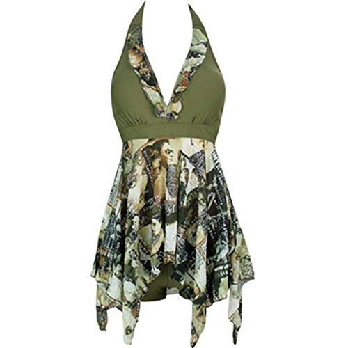 Forlisea Womens Plus Size Halter Tankini Swimwear Swimsuit 2 Pieces