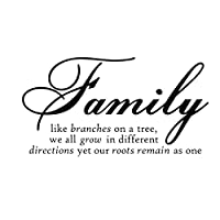"""Restly """"Family like branches on a tree,we all grow in different directions yet our roots remains as one.""""English Proverbs Wall Stickers Decor Living Room Wall Stickers Decor by Restly"""