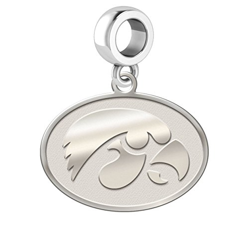 Iowa Hawkeyes Natural Finish Logo Cut Out Dangle Charm Fits All European Style Charm Bracelets.