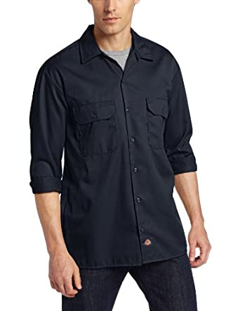 Dickies Men's Long Sleeve Work Shirt, Dark Navy, Small