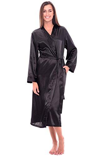 Del Rossa Women's Satin Robe, Long Dressing Gown, Large Black (A0755BLKLG)