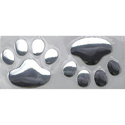 3D Silver Chrome Dog Paw Footprint Car Decal Stickers