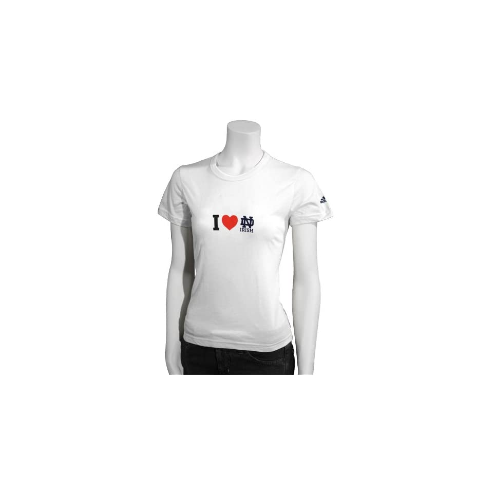 Adidas Notre Dame Fighting Irish White Ladies Team Love T shirt