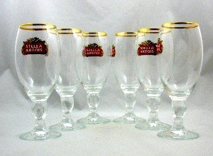 Set of (SIX) 6 Stella Artois Chalice Glasses (Each 33 Centiltre Chalice)