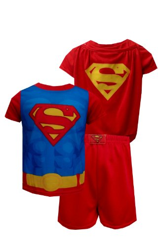 Superman Logo Toddler Red Pajama With Cape For Boys (4T) back-665209