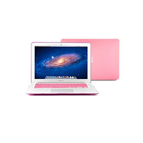 """iCrown(TM) 2014 New Arrival Pink Hot Rubberized See Through Hard Shell Snap On Case for 13 """" Apple Macbook Air with Silicon Keyboard"""
