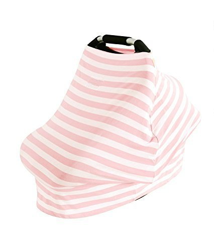 AMAZLINEN Universal Fit Multi-use Baby Car Seat Covers,Infant Car Seat Canopy,Nursing Covers,4 In 1,Stretchy Breathable 360° Coverage,Unisex Pink and White Stripe (Baby Car Seat Covers Pink compare prices)