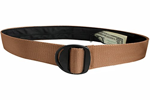 Bison Designs Crescent Black Buckle Money Belt - Medium - Coyote Brown (Bison Money Belt compare prices)