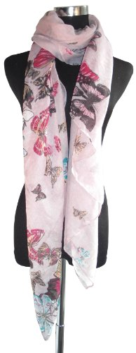 Large Pink Butterfly Chiffon Scarf or Sarong