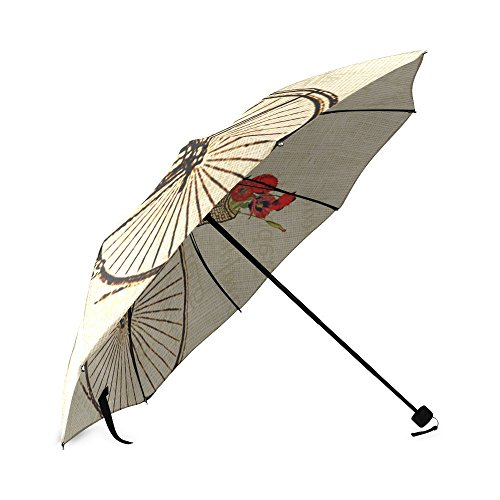 Vintage Bicycle and Flowers Print Design Lightweight Rain/Sun Umbrella Folding Anti-uv, Wind-proof Travel Umbrella 2