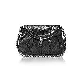 Francesco Biasia Makayla - Reptile Leather Flap Clutch w/Chain Strap Black