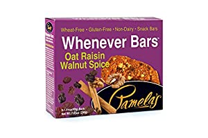 Pamela's Products Gluten Free Whenever Bars, Raisin Walnut Spice, 5 Count Box, 7.05-Ounce (Pack of 6)