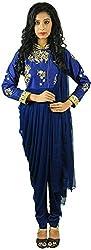 Aarshi Women's Crepe Stitched Salwar Suit (KMD/DS/001/1137_L, Navy Blue, L)
