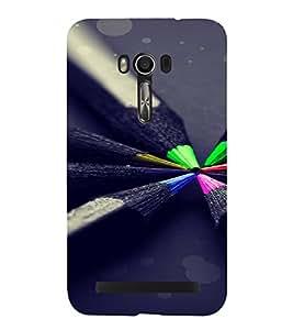 PrintVisa Colorful Pencil Design 3D Hard Polycarbonate Designer Back Case Cover for Asus Zenfone Go