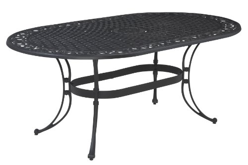 Home Style 5554-33 Biscayne Oval Outdoor Dining Table, Black Finish photo