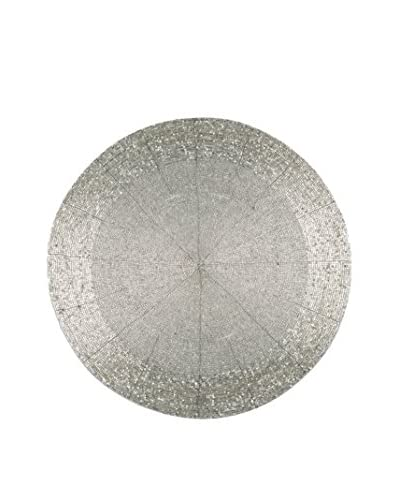 """Torre & Tagus 14"""" Silver Jai Round Beaded Placemat"""