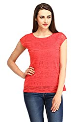 Cottinfab Women Polyester Red Tops (XX-Large)