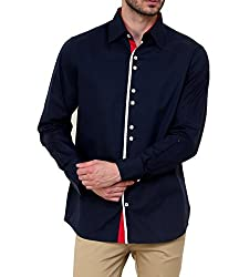 Dazzio Men's Slim Fit Cotton Casual Shirt (DZSH0121_Grey_42)
