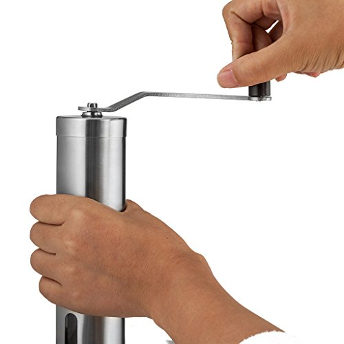 Siasky Manual Coffee Grinder Mill with Ceramic Conical Adjustable Burr, Portable Hand Crank Brushed Stainless Steel Coffee Miller