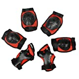 Como Child Black Red Detachable Closure Wrist Elbow Knee Support Brace Set