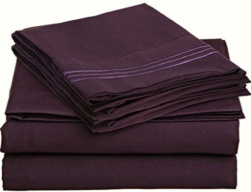 Bed Sheet Sets By Hcs Hotels Colection 2000 (New Edition) Supreme 4 Pieces Available In 15 Colors (Queen, Egg Plant/Purple)