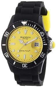 Madison New York Unisex-Armbanduhr Candy Time Blackline Analog Quarz Silikon U4486-02