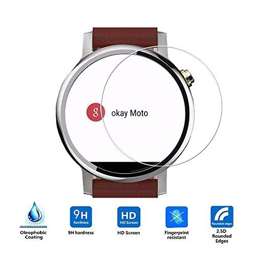Motorola Moto 360 46mm Screen Protector (2nd Gen 2015), Vistore Ultra-thin Shatterproof Anti-Scratch HD Clear Ballistic Glass Screen Protector for Motorola Moto 360 Watch 2nd Gen