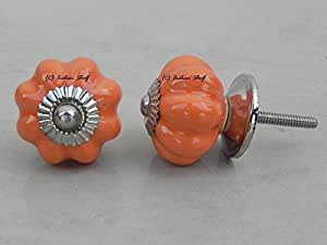 Set of 2 Medium Melon Orange Drawer Pull Cabinet Door Knobs Dresser Drawer Handle Kitchen Room Almirah Wardrobe Online India available at Amazon for Rs.129