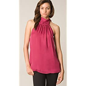 Alice + Olivia Berry/Pink Tie Neck Halter Top
