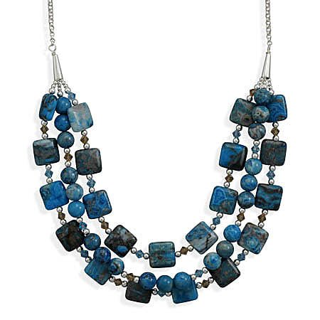Sterling Silver 16 + 2 Inch Triple Strand Blue Agate and Crystal Necklace