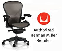 Hot Sale Herman Miller Aeron Chair Highly Adjustable with PostureFit Lumbar Support with Standard BB Carpet Casters - Large Size (C) Graphite Dark Frame, Lead Pellicle Mesh Home Office Desk Task Chair