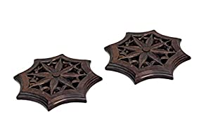 Black Friday Christmas Gifts Vintage Hand Made Set of 2 Floral Patterned Trivets Kitchen & Dining Accessories Table Top Decor