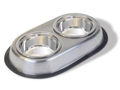 Pureness Stainless Steel Large Double Dish, 64-Ounce Per Side (Double Food Dish compare prices)
