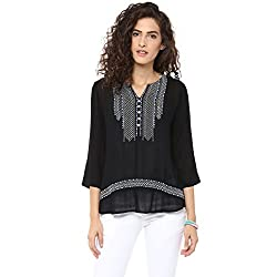Bhama Couture Black Embroidered Rayon Crepe Blouse Small