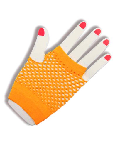 Sexy Neon Orange Fishnet Fingerless 80s Rock Costume Half Gloves