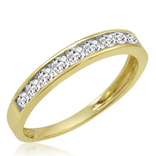 IGI Certified 10K Yellow Gold Diamond Anniversary Ring ( 1/2ct available sizes 5-9) sz7