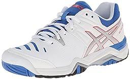 ASICS Women\'s Gel-Challenger 10 Tennis Shoe, White/Silver/Powder Blue,8 M US