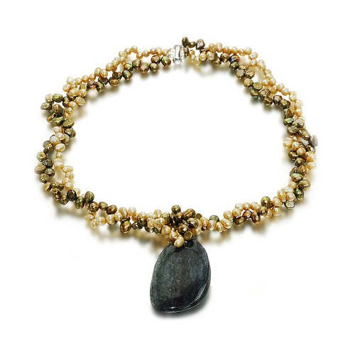 Orchira 925 Silver Clasp N0505-022(S) Ladies' Double Strand Lime Green and Bronze Pearl with Bloodstone Removable Pendant Necklace
