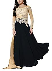 Miss Ethnic Women's Net Unstitched Dress Material (Black and Gold)
