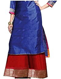 OneOeightdesigns Kalidar Silk Palazzo Full Length With Cotton Inner (Free Size 34-38) Color-Golden,Blue,Off White...