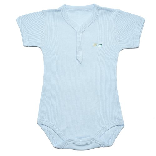 """Kid U Not"" Light Blue, Soft Baby Ribbed, Short Sleeve Henley Onesies. (0 (0-6 Months))"