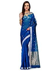 Azure Blue Cotton Silk Pure Chanderi With Zari Butis