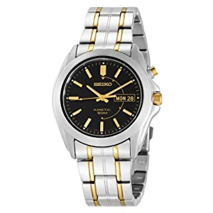 Seiko Men&#39;s SMY115 Two-Tone Stainless Steel Kinetic Black Dial Watch