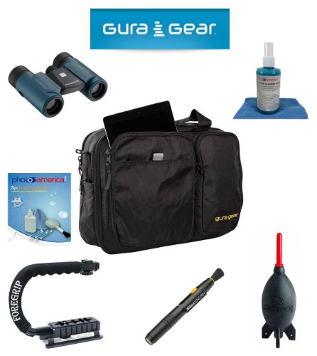 Gura Gear Chobe 19-24L Shoulder Bag, (Black) For Canon Eos 5D Mark Iii, 5D Mark Ii, 7D, 60D + Foregrip + Nikon Lens Pen Cleaning System + Giotto'S Air Blower + Cleaning Kit + Olympus Waterproof Binoculars